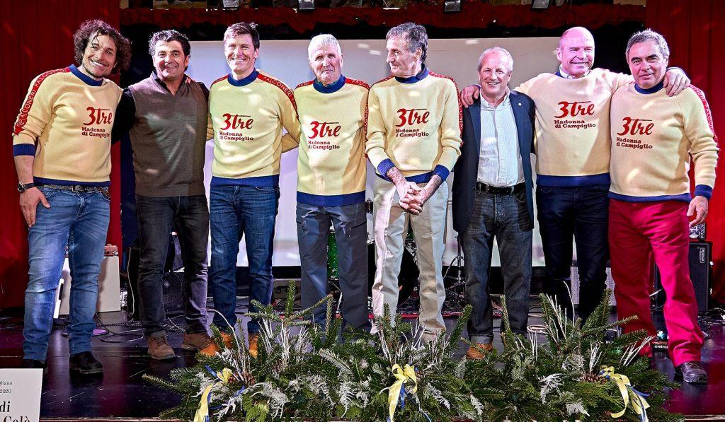 Zwycięzcy poprzednich edycji 3Tre podczas gali otwarcia 2020: Giorgio Rocca, Alberto Tomba, Ivica Kostelić, Henri Bréchu, Piero Gros, the 3Tre President Lorenzo Conci, Marc Girardelli and Ivano Edalini (Zdjęcie: Foto Bisti).